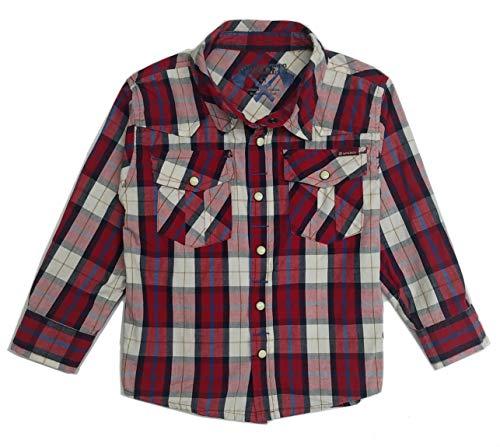 Sprockets Boys' Lumber Jack Joe Plaid Western Shirt Baby Toddler Kids (5, Red Plaid) (Size Shirts 5 Boys Western)
