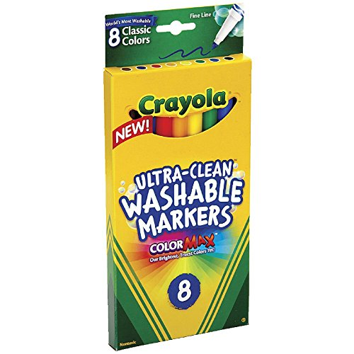 Crayola 8 Pack Ultra-Clean Fine Line Washable Markers, Classic Colors - Supple Tip
