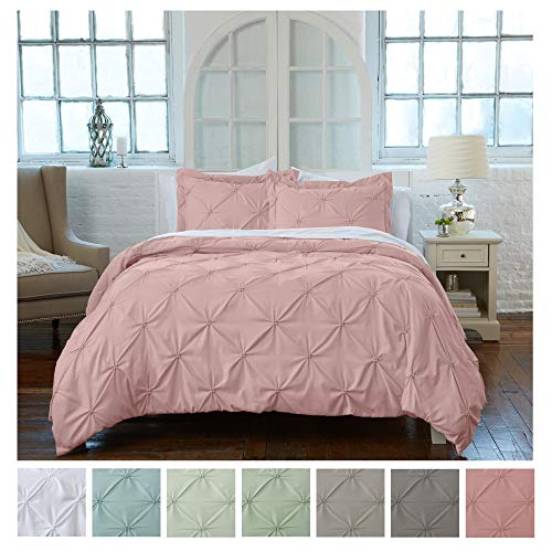Signature Pinch Pleated Pintuck Duvet Cover 3 Piece Set with Button Closure. Luxuriously Soft 100% Brushed Microfiber with Textured Pintuck Pleats and Corner Ties (Full/Queen, Rose Smoke) (Pleat Comforter Pink Pinch)
