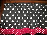 Black White Red Polka Dot hello kitty minnie mouse fabric curtain Valance 42″ by 13″ Review