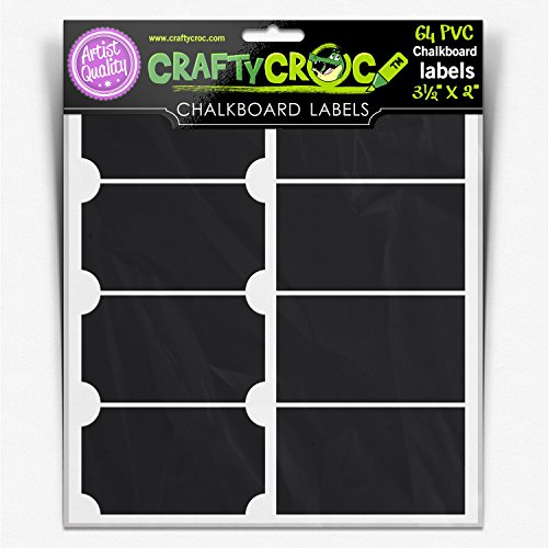 (64 Chalkboard Labels Large Rectangle Adhesive Stickers For Spice Jar, Mason Jar, Canister and Bottle - Size 3.5
