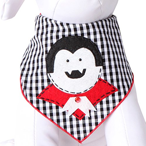 Dracula Costume Designer (Tail Trends Halloween Dog Bandanas with Dracula Designer Appliques 100% Cotton (M))
