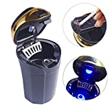 RCRunning Car Ashtray and Cigarette Lighter with Blue Led Light for Most Car Cup Holder, Portable Black with Gold Edge