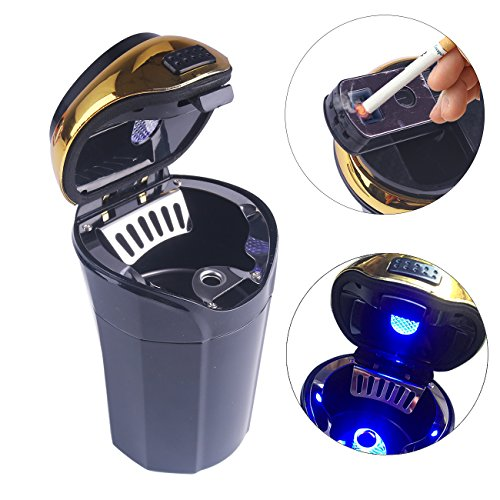 RCRunning Car Ashtray and Cigarette Lighter with Blue Led Light for Most Car Cup Holder, Portable Smokeless Black with Gold Edge by