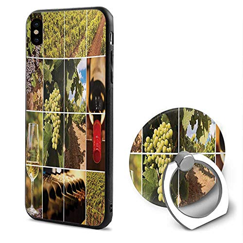 Vineyard iPhone x Cases,Vineyard Landscapes Purple Grapes French Bottle Glass Rustic Cellar Couples Green Red Brown,Mobile Phone Shell Ring Bracket
