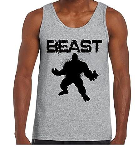 icustomworld Men's Beast Hulk Tank Top Workout Gym Fitness Tank XL Gray (Hulk Workout Tank)