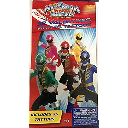 Power Rangers Super Megaforce 32 Valentines with 35 Tattoos Sales
