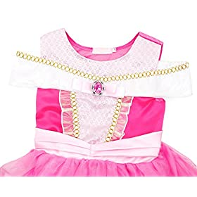- 51txwa5QE4L - Filare Rapunzel Aurora Costume Dress Up Princess Girls Birthday Party Cosplay Clothes