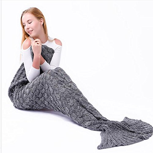 Tempt Me Fashion Knitted Mermaid Tail Blanket for Adults Kids Girls Grey 2