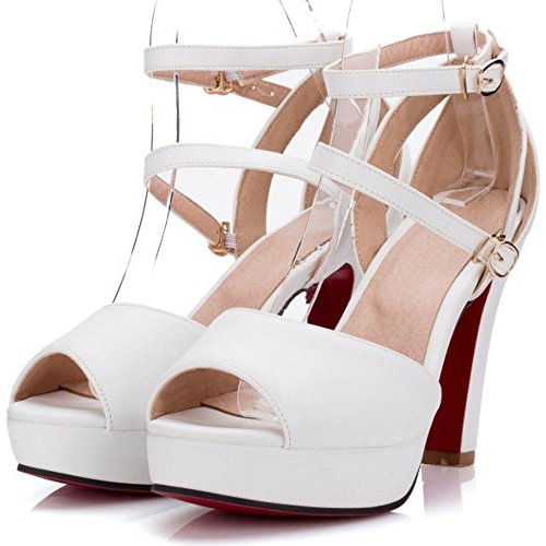 Sangle Chaussures Chunky Forme RAZAMAZA de Cheville White Femmes Plate Sandales qvn75fP