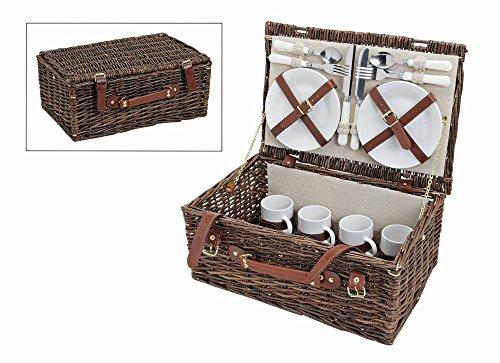 Picknickkorb, beige/creme braun weiß | Picknick Set für 4 Personen | 21 Teile, 45x30x19cm, 2,7kg