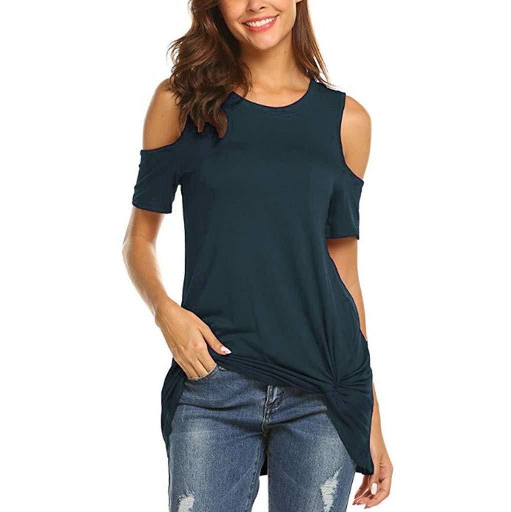 Summer Blouses for Women Casual Short Sleeve Cold Shlouder T-Shirt Loose Soild O Neck Tee Top Navy