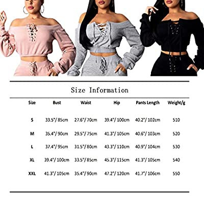 OLUOLIN Women Sexy Long Sleeve Two Pieces Outfits Tracksuit Lace Up Off Shoulder Casual Sweatsuit at Women's Clothing store