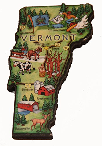 (Vermont State Decowood Jumbo Wood Fridge Magnet 4.25)