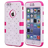 iPhone 6S Case, KAMII 3 Layers Verge Hybrid Soft Silicone Hard Plastic Triple Quakeproof Drop Resistance Protective Case Cover for Apple iPhone 6/6S (White Rose)