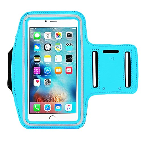 ([1 Pack]Running Armband,CaseHQ Sports Water Resistant with Key Holder Pouch Fit iPhone 7 6 6s Plus(5.5-Inch) Samsung Galaxy S7 S6/S5, Note 4/3 ,Bundle with Screen Protector)
