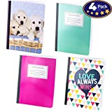 Notebook Wide Ruled Paper 4 Pack. 9 3/4 x 7 1/2 inch Notepads are Great Back to School Gifts. Different Designs Make Organizing for Class Easy. Includes Schedule and Other Useful Tools