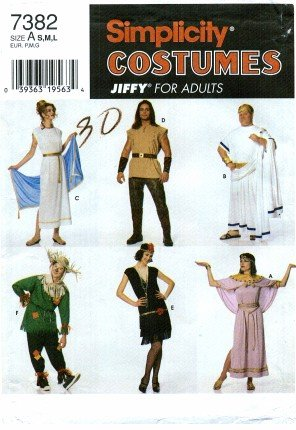 [Simplicity 7382 Sewing Pattern Costumes - Roman Egyptian Scarecrow Cleopatra Warrior Flapper] (Warrior Man Costumes)