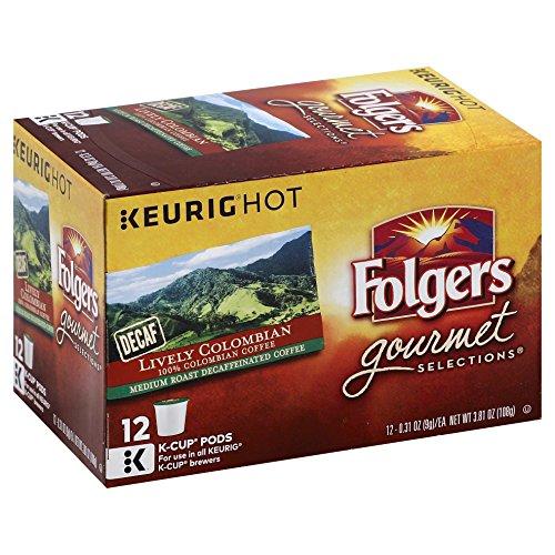 Folgers Gourmet Selections Keurig Brewed, Lively Columbian, Decaffeinated, Medium, K-Cup-12 ct