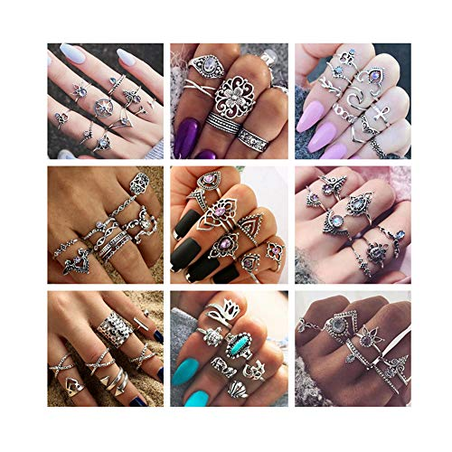 - ANGELANGELA Vintage Assorted Mixed 6 Set Stacking Rings, Antique Silver Joint Above Knuckle Nail Midi Band Statement Stackable Cuff Toe Finger Ring Set (3 Sets)