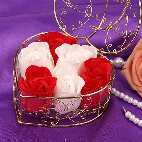 NszzJixo9, 6Pcs Heart Scented Bath Body Petal Rose Flower Soap Wedding Decoration Gift,Paper Fancy Soap, Flavor (Red)