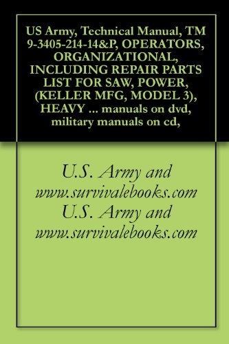 US Army, Technical Manual, TM 9-3405-214-14&P, OPERATORS, ORGANIZATIONAL, INCLUDING REPAIR PARTS LIST FOR SAW, POWER, (KELLER MFG, MODEL 3), HEAVY DUTY, ... manuals on dvd, military manuals on cd,