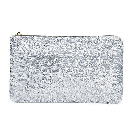 Great Deal(TM) Silver Sequins Dazzling Glitter Bling Clutch
