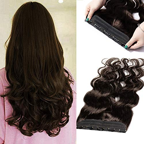 xtensions Wavy Curly 100% Remy Natural Hair Full Head 1 Piece 5 Clips Long Thick Soft Silky Straight for Women Beauty Body Wave 22