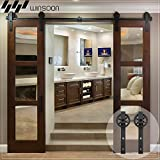 WINSOON 6.6FT Wood Double Sliding Barn Door Hardware Basic Black Big Spoke Wheel Roller Kit,5-18FT for Choose