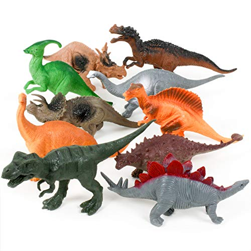 (DinoMax Dinosaur Toy Figures Set for Boys & Girls Ages 2 3 4 5 6 7 8 9 Year Old, Plastic Educational Jurassic Models for Kids, Tyrannosaurus Rex (T-Rex), Best Large Play Dino for Toddlers, (10-Pack))