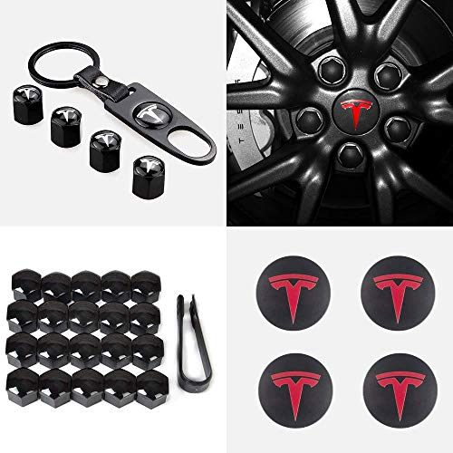 CCTRADE Tesla Model 3 Aero Wheel Cap Kit,Wheel Center Hub Caps Covers & Lug Nut Bolt Cover Caps & Tire Valve Cap Cover Logo Styling Combined Package(Red)
