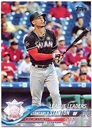 6123dcec6 Giancarlo Stanton 2018 Topps 2017 League Leaders  45 - Miami Marlins ...