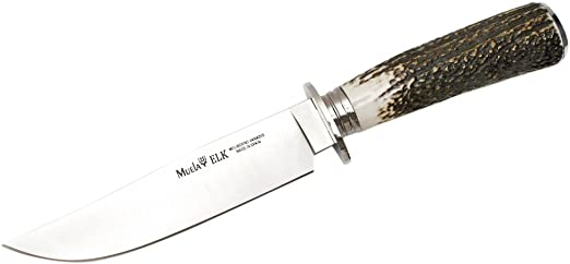 Muela ELK-14A.I Genuine Red Stag Antler Handle Hunting Knife with Leather Sheath