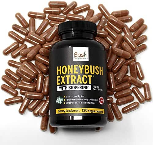 Baski Supplements Natural Honeybush Extract Pill Capsule Treatment for Acne, Eczema, Psoriasis, Rosacea Relief - Vitamin Remedy Reduces Skin Inflammation and Redness
