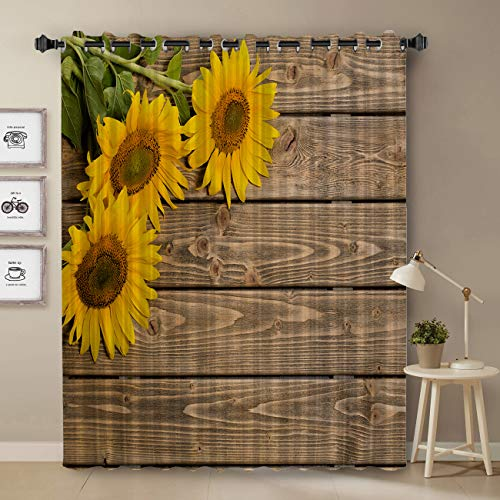 Bright Sunflower On Rustic Wooden Country Theme Curtains For Bedroom 52x52 Inch