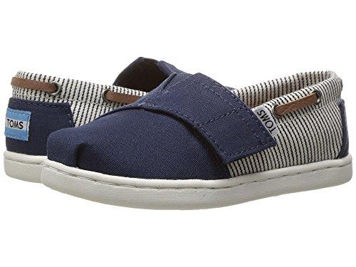 Blue Navy Flat Shoe Stripe (TOMS Kids Unisex Bimini (Infant/Toddler/Little Kid) Navy Canvas/Stripes 11 M US Little Kid M)