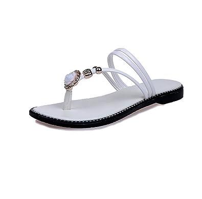 weiwei Damen Sommer Flachboden Hausschuhe,Flip-Flops Mode-Strandsandalen-A Fußlänge=22.3CM(8.8Inch)