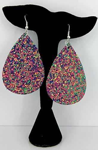 Dangle Leather (Teal and Pink Glitter Faux Leather Large Teardrop Dangle Earrings)