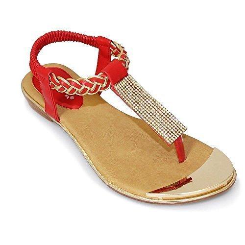 ZAFIRO BOUTIQUE JLH716 Elena Mujer De Dedo Trenzado Correa Recubierto De Oro Zapatos Sandalias Diamante Rojo