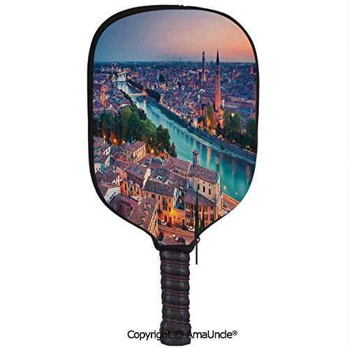 Pink Verona Sleeve - SCOXIXI Neoprene Sports Pickleball Paddle Cover Sleeve,Personalized Verona Italy During Summer Sunset Blue Hour Adige River Medieval HistorcalRacquet Cover,Lightweight,Durable and Portable
