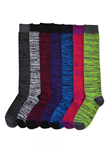 Mamia 6 Pack Women Multi Pattern Playful and Colorful Knee High Socks (Messy, Size 9-11) (Knee Length Socks)