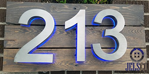 Backlit LED House Numbers (8 Inch Blue) Big, Modern Address Signs for Homes | Soft, Exterior Glow | Brushed Stainless-Steel Finish | Weather Resistant, Durable, Wired | by JELSCO (4) by JELSCO (Image #5)