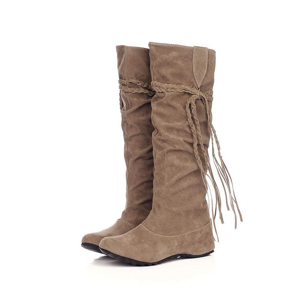 JiaMeng-Botas Mujer Ante Botas de Invierno Media Pierna de Mujer rebajada Botas de Tobillo Zapatos de Casual Aumentar Las Plataformas de Muslo Alto Botas ...