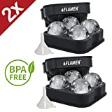 2X Flamen XXL ICE BALL MAKER MOLD, 4x JUMBO Ice Spheres, BPA Free, Food grade Quality Silicone Press