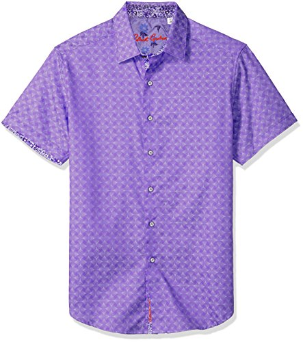 Diamante Short Sleeve Classic Fit Shirt, Purple, Small (Diamante Button)