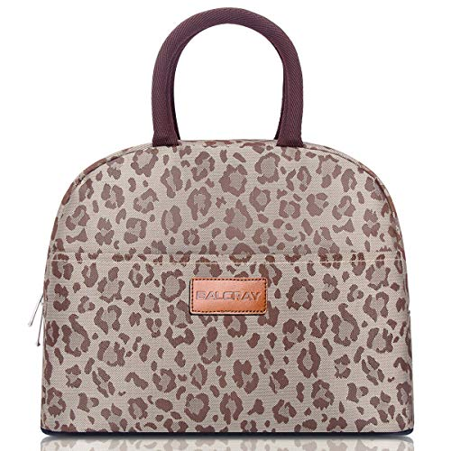 BALORAY Lunch Bag for Women Stylish Lunch Tote Bag Insulated Lunch Cooler Bag for Women,Perfect for Work/Picnic (G-197L Brown Leopard)