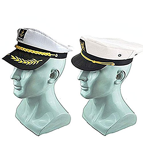 Boat Captain Hat, Sailor Hat Embroidery Boat Ship Sailor Hats with Brooch Sea Cap Navy Costume Accessory, 3PCS
