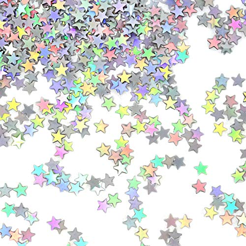 (Honbay 60g 2.1 Ounce 6mm Silver AB Color Star Confetti Glitter Star Sequin for Nail Art, Wedding, Birthday, Party, Festival Decorations)