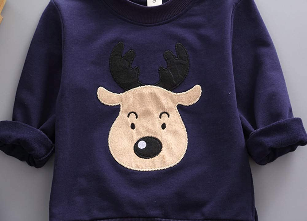 POLP Camiseta de Manga Larga con Estampado de Ciervos de Dibujos Animados de Navidad para ni/ños de Manga Larga pantal/ón de Dos Piezas Unisex Ropa ni/ño oto/ño Invierno 2PCS