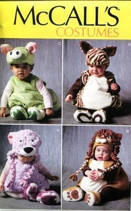 McCalls P312 Baby Infant Toddler Pull Over Animal Costume Sewing Pattern Size 1/2 to 4T Hippo Lion Horse Bear
